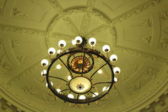Antique ceiling lighting. Antique lighting in old Hotel ceiling Royalty Free Stock Image