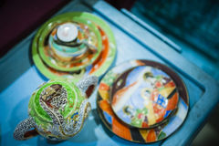 Antique Ceramic. Some antique pottery displayed for sale at a flea market stock photos