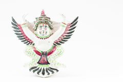 Antique ceramic Thai garuda statue on white background Stock Photo