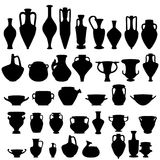 Antique ceramics, vector silhouettes. Antique ceramics, silhouettes of amphorae, pitchers and bowls, isolated vector elements Stock Images