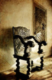 Antique chair. Beautiful antique chair in German castle stock photography