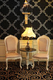 Antique chair. With dark pattern background royalty free stock image