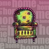 Antique chair. Home. psycodelic colors Royalty Free Stock Image