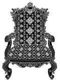 Antique chair structure. An isolated black and white structure of an royal antique armchair with  highly ornate damask pattern on seats nn Stock Photo