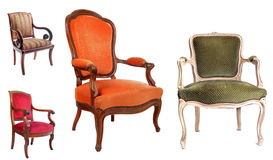 Antique chairs. In front of white background Royalty Free Stock Photography