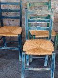 Antique Chairs With New Cane Seats, Greece Stock Photo