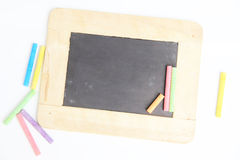 Antique chalkboard with wooden frame,isolated. Antique chalkboard with wooden frame stock photos