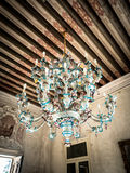 Antique chandelier of blown glass. Royalty Free Stock Image