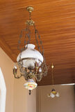 Antique chandelier on wood palate. Royalty Free Stock Photo