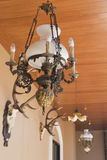 Antique chandelier on wood palate. Antique chandelier on wood palate royalty free stock photography