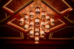 Antique chandeliers on the ceiling in the night. Royalty Free Stock Image