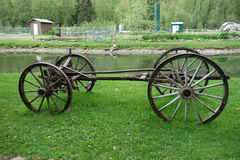 An antique chassis. An old chassis from a horse-drawn wagon used in the past Royalty Free Stock Photo