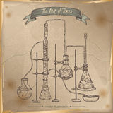 Antique chemistry lab equipment sketch placed on old paper background Stock Image