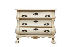 Antique chest of drawers. Provencal style antique chest of drawers isolated on white stock images