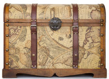 Antique chest / trunk. With world map texture Royalty Free Stock Photos
