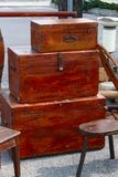 Antique chests. For sale at antiques mercto Royalty Free Stock Photo