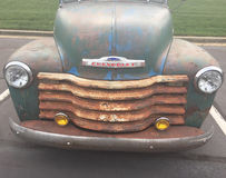 Antique Chevrolet truck hood and grill royalty free stock image