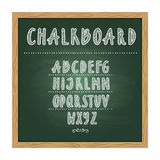 Antique child school chalkboard with green texture and hand writing alphabet on it. Vector doodle writing letters. Blackboard with alphabet handwritten vector illustration
