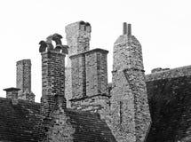 Antique chimneys, black and white Stock Photos