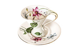Antique China tea cup and saucer with leaves and delicate flowers. Has no background stock images