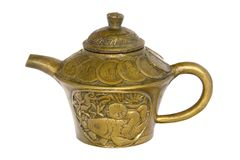 Antique Chinese Brass Tea Pot Stock Photos
