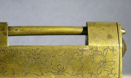 Antique Chinese Bronze Lock Stock Photos
