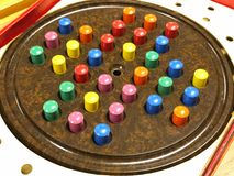 An antique Chinese Checkers or Solitaire game. Colorful game pieces lined up for a game of solitaire royalty free stock images