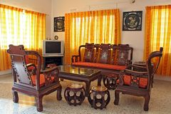 Antique Chinese Rosewood Furniture. Living room furnished with antique Chinese rosewood furniture Stock Photos
