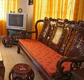 Antique Chinese Rosewood Furniture. Living room furnished with antique Chinese rosewood furniture Stock Photography