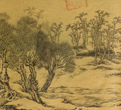 Antique Chinese Silk Painting stock illustration