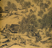 Antique Chinese Silk Painting royalty free illustration