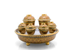 Antique Chinese tea bowl set Stock Photography
