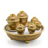 Antique Chinese tea bowl set Stock Image