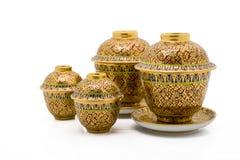 Antique Chinese tea bowl set Royalty Free Stock Photo