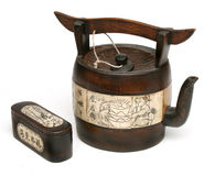 Antique chinese teapot of bamboo and ivory Stock Image