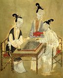 Antique chinese three woman picture royalty free stock image