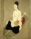 Antique asian woman painting. Antique chinese woman on the leaf picture Royalty Free Stock Images