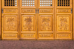 The antique Chinese wooden carved doors Stock Images
