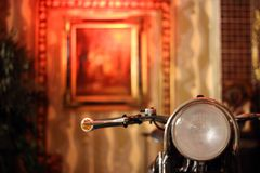 Antique Chopper Front View, Head Lamp. royalty free stock photo