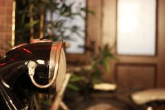 Antique Chopper Side View, Head Lamp & Blank Area.  royalty free stock photography
