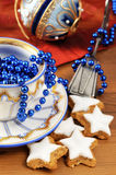 Antique christmas baubles of Biedermeier time with cookies and o stock image