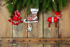 Antique christmas decorations on boards Royalty Free Stock Photo