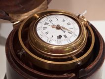 Antique chronograph in wooden case Royalty Free Stock Image