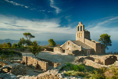 Antique Church. Church. landscape. sea and sky in Costa brava. Spain royalty free stock photography