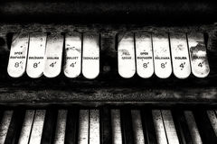 Antique Church Organ Keyboard and Switches Stock Photo