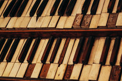 Antique church organ keys Stock Photo