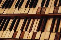 Antique church organ keys Stock Photo