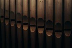 Antique church organ pipes Stock Photos