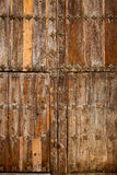Antique church wood door in Canete Cuenca Spain Royalty Free Stock Photography