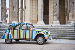 Antique Citroen at Temple Augustus Royalty Free Stock Photo